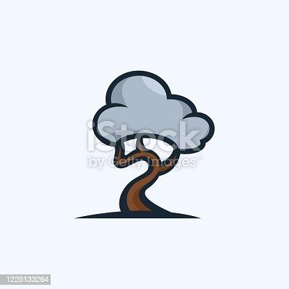 istock Vector Illustration Tree Cloud Cute Cartoon. 1225133264