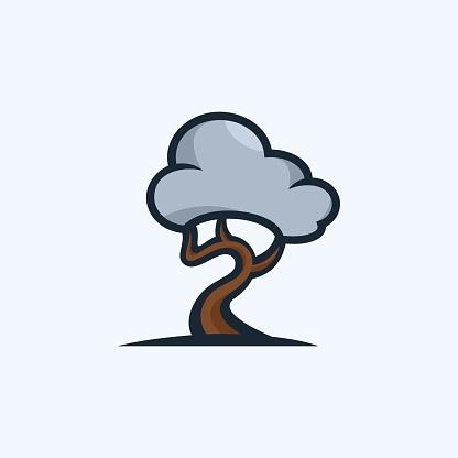 Vector Illustration Tree Cloud Cute Cartoon.