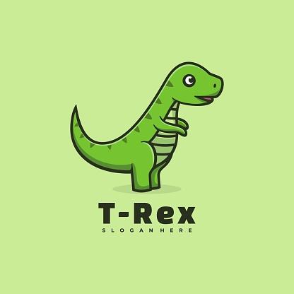 Vector Illustration T-Rex Love Simple Mascot Style.