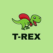 Vector Illustration T-Rex Simple Mascot Style.
