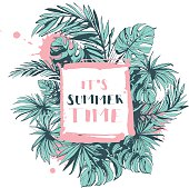 Vector illustration Vector illustration Tropical floral summer party poster with palm beach leaves. Ink splatter grunge style.Textured floral design