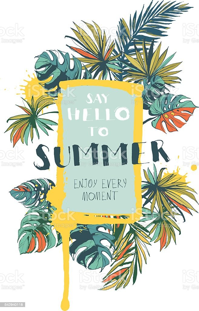 Vector illustration Tropical floral summer party poster vector art illustration