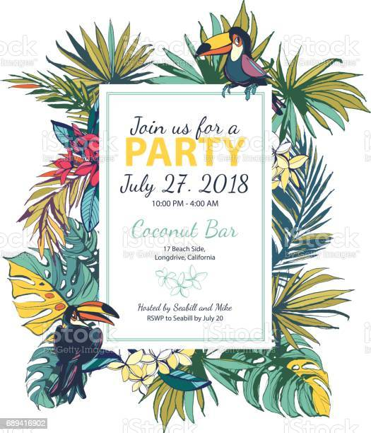 Vector illustration tropical floral summer party poster with pal vector id689416902?b=1&k=6&m=689416902&s=612x612&h=3ydugshzsdc14 y05vm9yaacibcmt8yt2zzlyl9hbes=