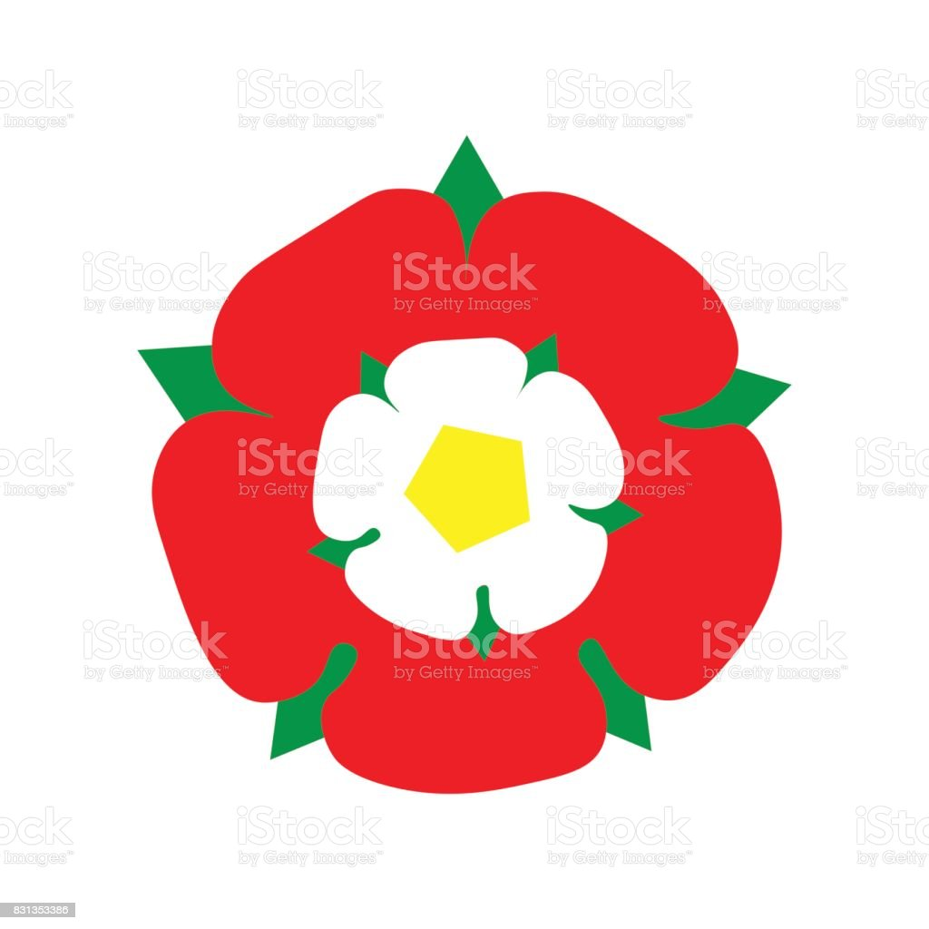 Vector Illustration: Tudor Rose made in a flat icon style. England emblem after the War of The Roses: combined the red rose of the house of Lancaster and the White rose of the house of York. vector art illustration