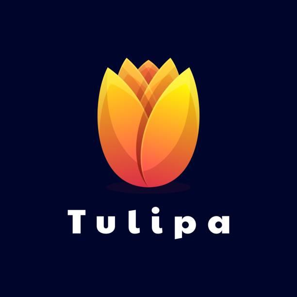Vector Illustration Tulips Gradient Colorful Style. Vector Illustration Tulips Gradient Colorful Style. anniversary symbols stock illustrations