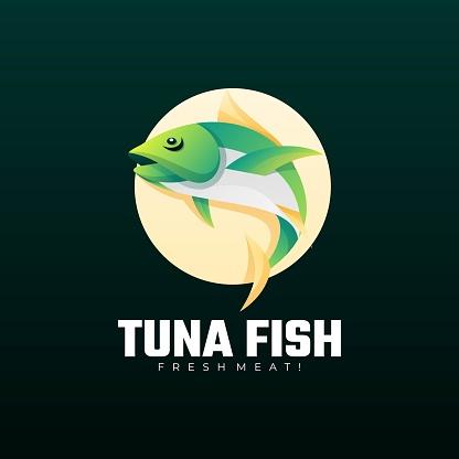 Vector Illustration Tuna Fish Gradient Colorful Style.