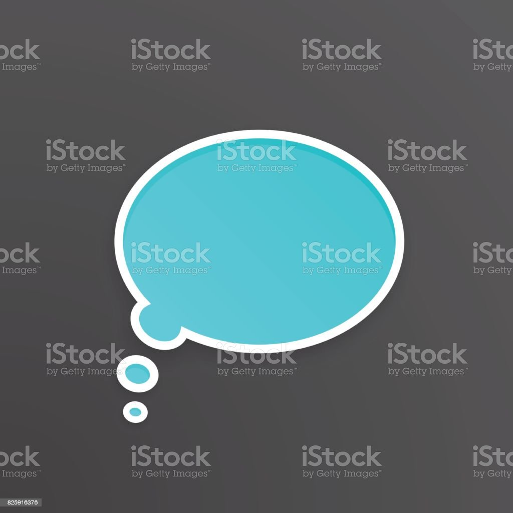 Vector illustration. Turquoise comic speech bubble for thoughts at oval shape with white contour. Empty shape in flat style for chat dialogs. Isolated on black background vector art illustration
