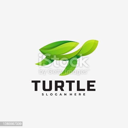 istock Vector Illustration Turtle Gradient Colorful Style. 1285567339
