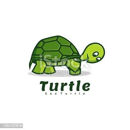 istock Vector Illustration Turtle Simple Mascot Style. 1254737819