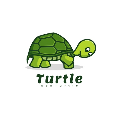 Vector Illustration Turtle Simple Mascot Style.
