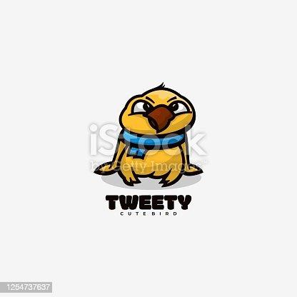 istock Vector Illustration Tweet Simple Mascot Style. 1254737637