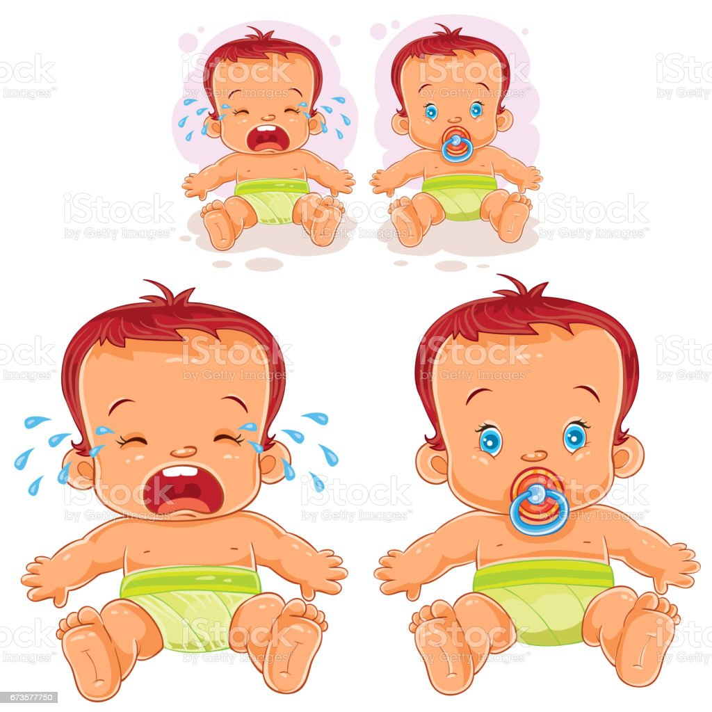 Vector illustration two baby in diapers vector art illustration