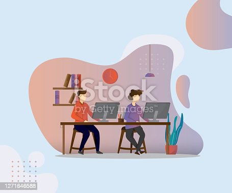 istock Vector illustration, Two man working on computer 1271646588