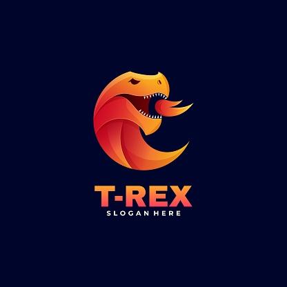 Vector Illustration Tyrannosaurus Gradient Colorful Style.