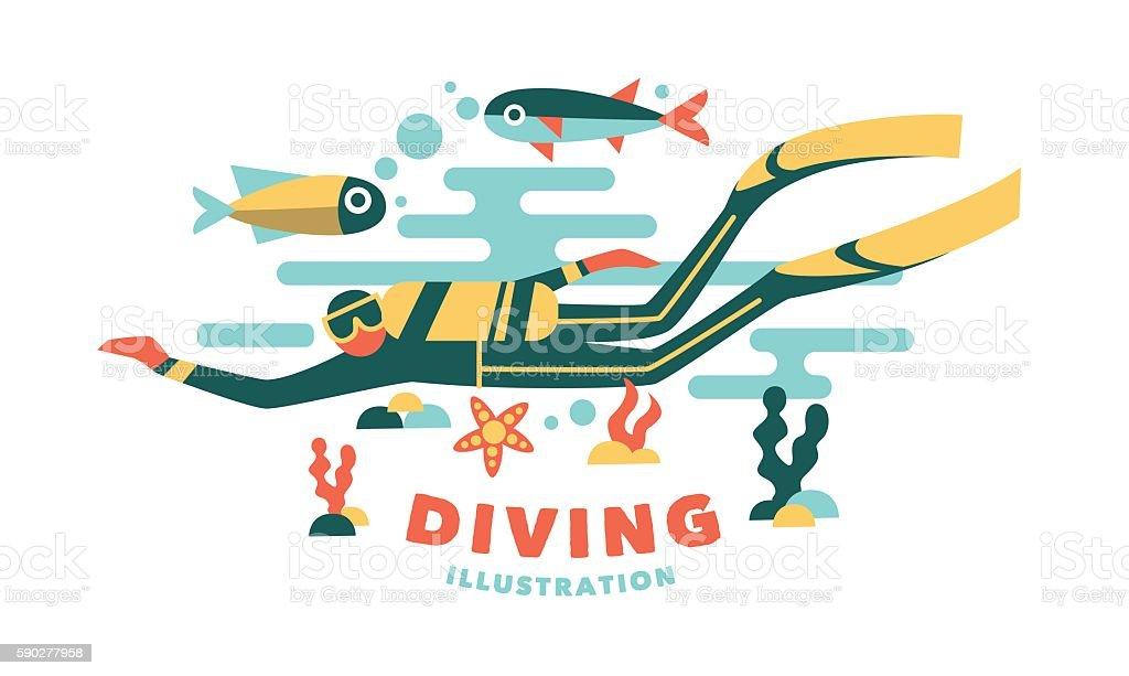 Vector illustration underwater diver surrounded fish vector art illustration