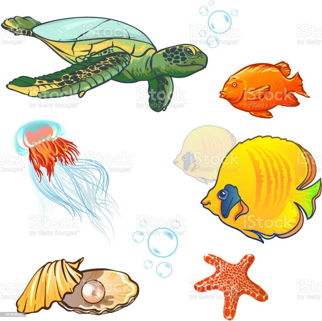 vector illustration. underwater world with marine animals. royalty-free stock vector art