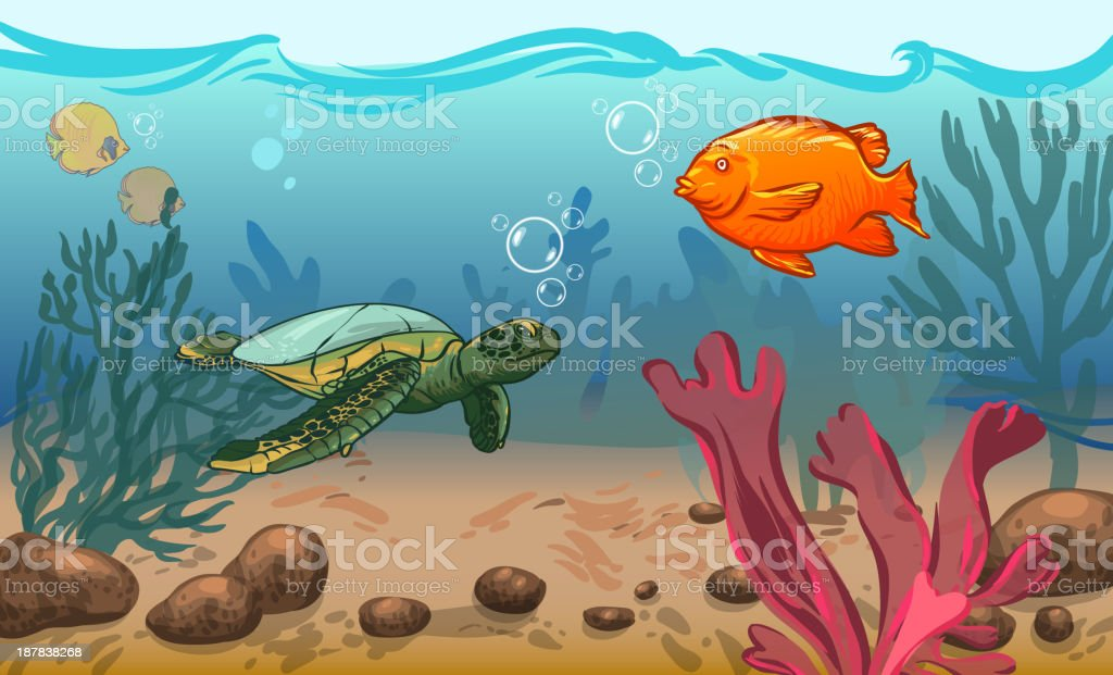 vector illustration. underwater world with marine animals. fish,...