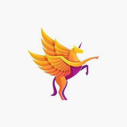 Vector Illustration Unicorn Gradient Colorful Style.