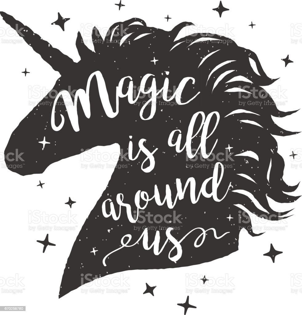 Vector illustration unicorn head silhouette with lettering text vector art illustration