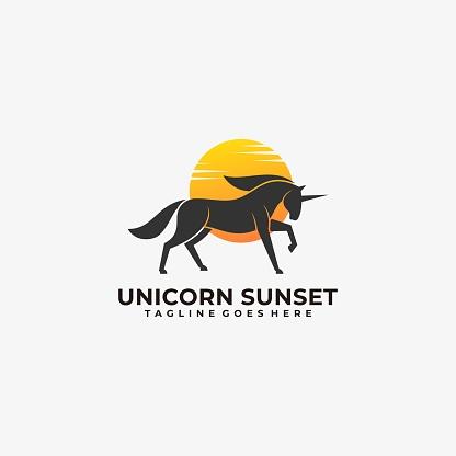 Vector Illustration Unicorn Silhouette Style.