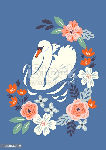 Vector illustration with white swan swimming in the lake with the frame of abstract flowers  in vintage style for postcard