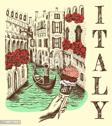 Vector illustration of sketch hand drawn view Venice in vintage style. Retro Italy, Venezia architecture, Italia, gondola, ice cream, gelato,. Advertising poster, banner,  landmark, engraved postmark.