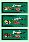 Vector illustration of sketch hand drawn flyer of sushi bar menu for restaurant, cafe, shop. Japanese, Chinese traditional asian food background .Rice, shrimp,ell fish,nori,avocado, chopstick. Poster