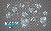 Vector illustration of bubbles from a cleaning or washing powder.
