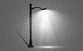 Lantern on the background. Bright modern street lamp. vector illustration. Beautiful light from a street lamp.