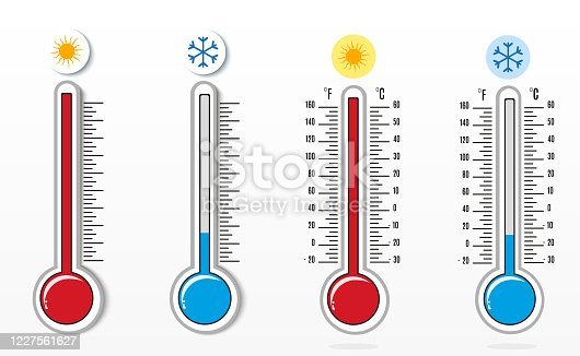 Meteorological thermometers on a white background. Blue and red thermometers. Vector illustration