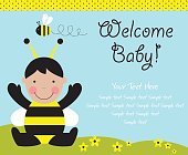 baby arrival card. vector illustration