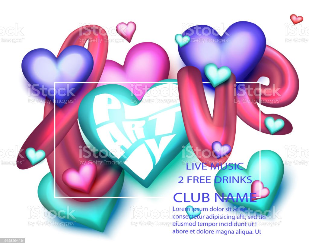 Love Party Banner With Colorful Letters And Hearts Vector ...