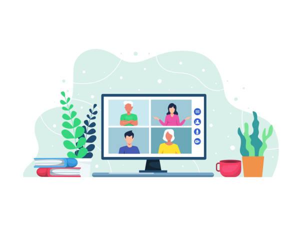 stockillustraties, clipart, cartoons en iconen met vector illustratie video conferentie concept - sociale bijeenkomst