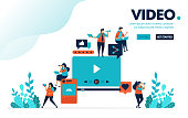 Vector illustration video & editing. People watch video from social media. Provide rating and comment, uploading and editing. Designed for landing page, web, banner, mobile, template, flyer, poster