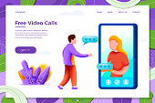Vector illustration video call concept - cartoon girl chatting with man from phone, isolated on white background. Banner, site, poster template with place for your text.