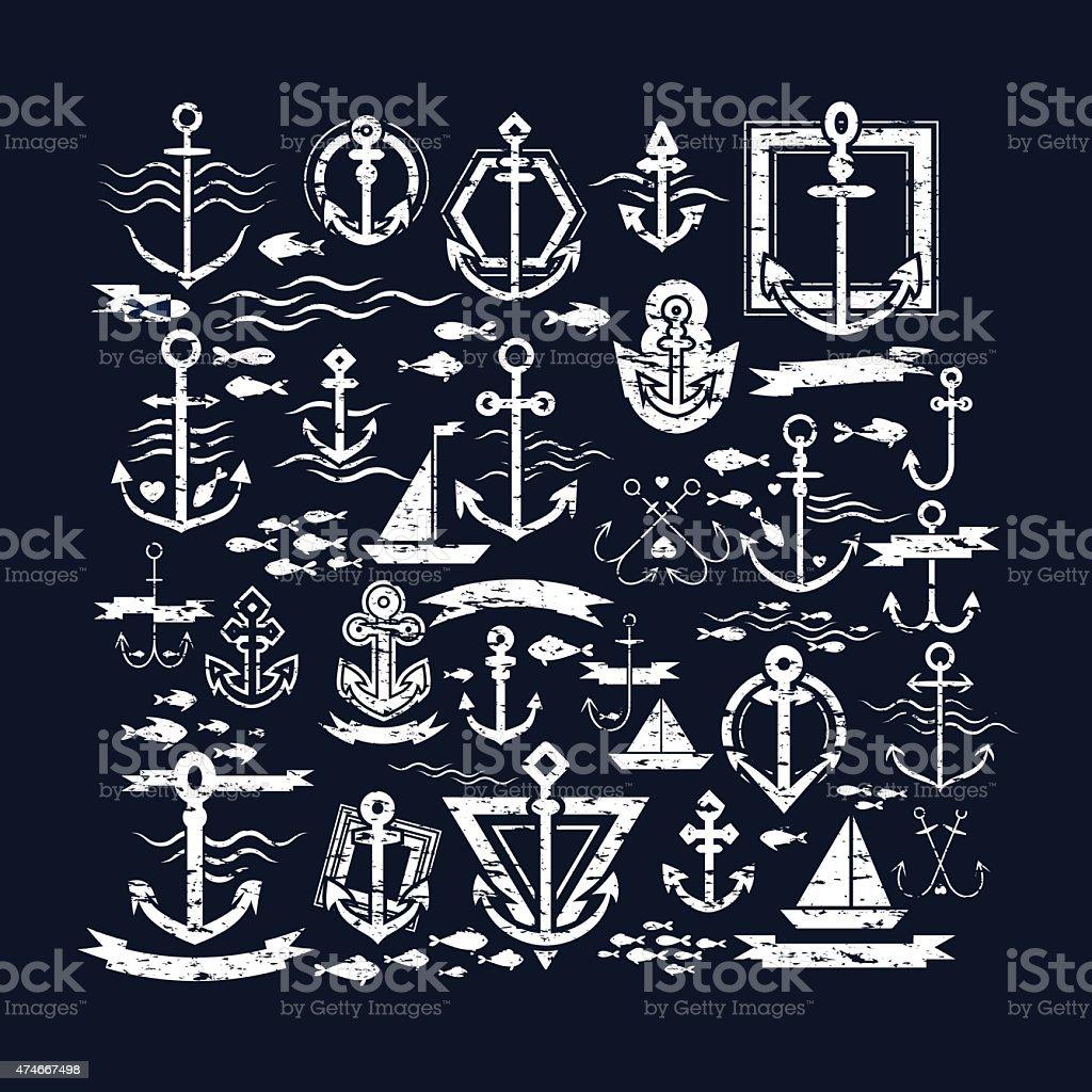 Vektor-Illustration von vintage nautische Etiketten, icons und Illustrationen – Vektorgrafik