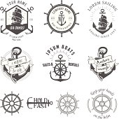 Vector illustration, vintage nautical label icons
