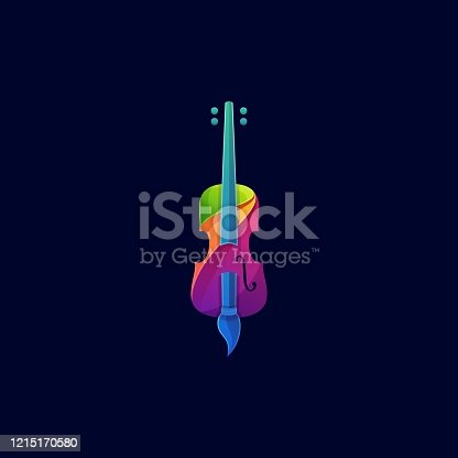 istock Vector Illustration Violin and Brush Colorful Style. 1215170580