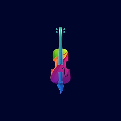 Vector Illustration Violin and Brush Colorful Style.