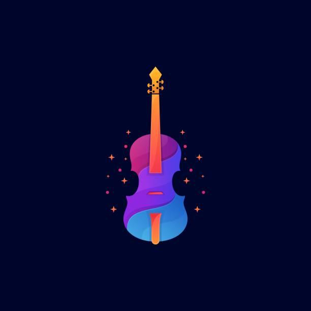 bildbanksillustrationer, clip art samt tecknat material och ikoner med vektor illustration violin toning färgglada stil. - komposition