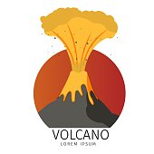 Vector Illustration Volcanic Spewing fish Icons