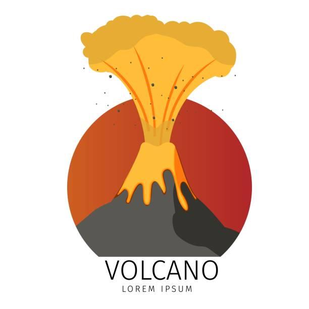 vektor-illustration vulkan spuckt fisch symbole - vulkane stock-grafiken, -clipart, -cartoons und -symbole