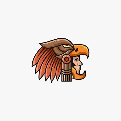 Vector Illustration Warrior with Eagle Head line art Style.
