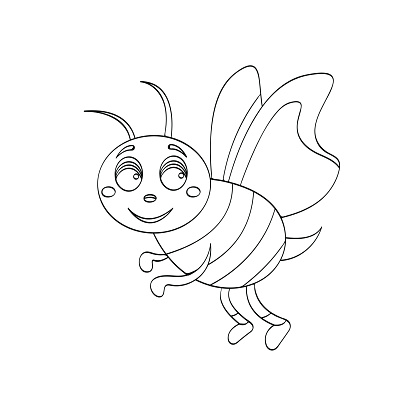 Vector illustration wasp cartoon for kids drawing. Educational children outline painting game.