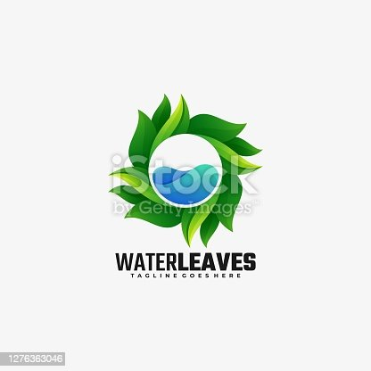 istock Vector Illustration Water Leaves Gradient Colorful Style. 1276363046