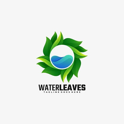 Vector Illustration Water Leaves Gradient Colorful Style.