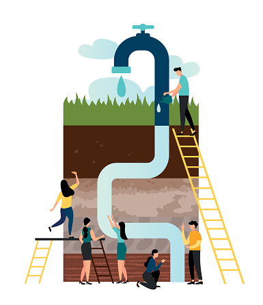 Vector illustration, water system, extraction of groundwater, geological studies, soil in a section, pipes in the ground go up in the crane