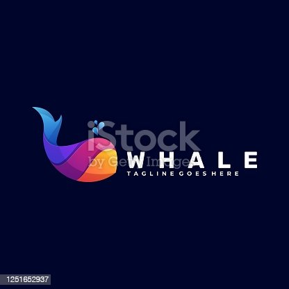 istock Vector Illustration Whale Gradient Colorful Style. 1251652937