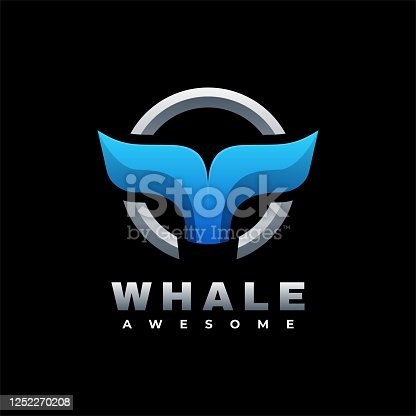 istock Vector Illustration Whale Gradient Colorful Style. 1252270208
