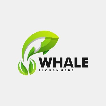 Vector Illustration Whale Gradient Colorful Style.